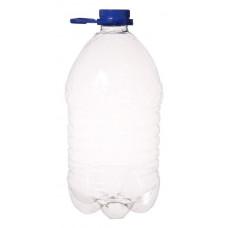PET pudele 5.0L caurspīdīga ar zilu korķi un rokturi
