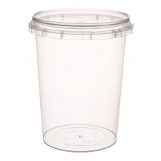 Container with safety lock 520ml and lid 93mm, transparent, PP