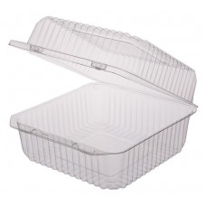 Rectangular container  150*158*85mm hinged lid, transparent OPS