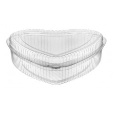 Heart-shaped container 1000ml hinged lid, transparent OPS