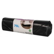 Trash bags  75L, 650x1000mm, 45my, black LDPE