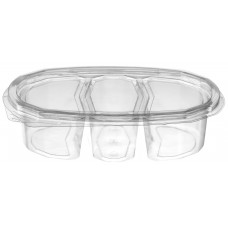 Oval container 3-compartment 540ml 190*140*50mm hinged lid, transparent RPET
