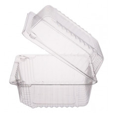 Rectangular container  130*130*80mm hinged lid, transparent OPS