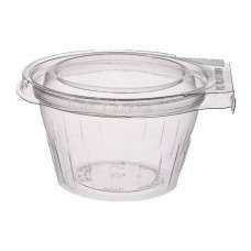 Apaļš trauks 250ml 114*65mm with hermetic lid and safety lock, transparent RPET