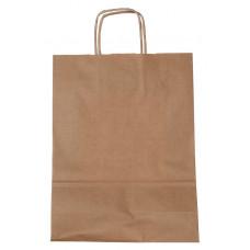 Popierinis maišelis 240x100x320mm, su susuktomis rankenomis, rudas