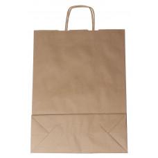 Popierinis maišelis 310x120x410mm, su susuktomis rankenomis, rudas