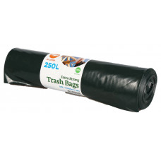 Trash bags  250L, 1100x1250mm 60my, double-layer, black LDPE