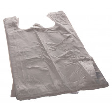 Bags with handles 16+12x30 cm, white HDPE