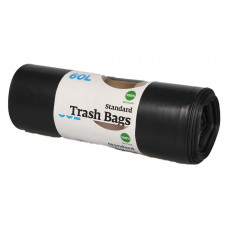 Trash bags 60L, 600x850 mm, 40my, black  LDPE