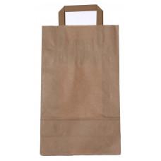 Popierinis maišelis 220x100x360mm, su plokščiomis rankenomis, rudas