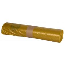Trash bags  100L 700x1100mm 60my, yellow LDPE