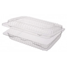Rectangular container  200*148*50mm hinged lid, transparent RPET