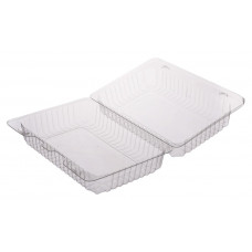 Rectangular container  200*150*65mm hinged lid, transparent RPET