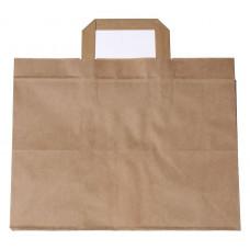 Popierinis maišelis 320+220x250mm, su plokščiomis rankenomis, rudas