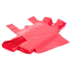 Bags with handles 30+18x55 25my, red HDPE