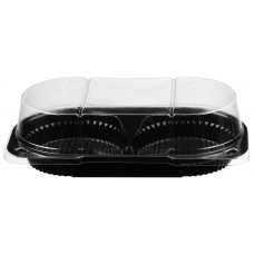 Rectangular container  217*120*65mm, 2-compartment hinged lid, black/transparent RPET