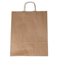 Popierinis maišelis 320x120x400mm, su susuktomis rankenomis, rudas