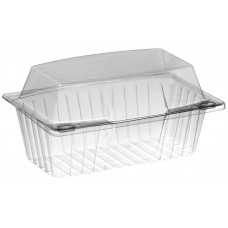 Rectangular container  190*125*100mm hinged lid, transparent RPET