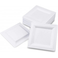EKO Lėkštė 155 * 155 * 17mm kvadratinė, balta, cukranendrių