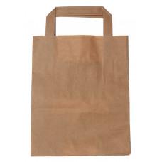 Popierinis maišelis 180x80x220mm, su plokščiomis rankenomis, rudas