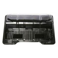 Rectangular container  180*120*78mm hinged lid, black/transparent RPET