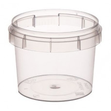 Container with safety lock 120ml and lid 69mm, transparent, PP