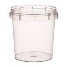 Container with safety lock155ml and lid 69mm,  transparent, PP