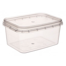 Rectangular container with safety lock 400ml and lid, transparent PP