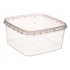 Square container with safety lock 600ml and lid, transparentPP