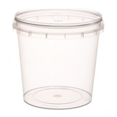 Container with safety lock 280ml and lid 93mm,  transparent, PP