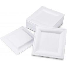 EKO Lėkštė 262 * 262 * 19mm kvadratinė, balta cukranendrių