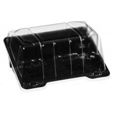 Rectangular container  175*136*85mm hinged lid, black/transparent RPET
