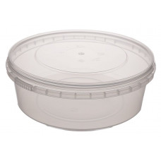Container withouth safety lock 1000ml with lid 173mm, transparent PP