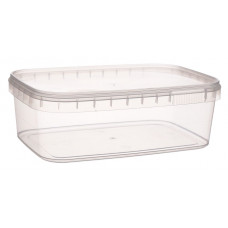 Rectangular container with safety lock 1000ml and lid, transparent PP
