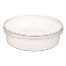 Container withouth safety lock 725ml with lid 173mm, transparent PP