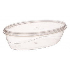 Oval container with safety lock 330ml and lid, transparent PP