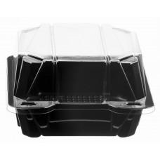 Rectangular container  147*146*84mm hinged lid, black/transparent RPET