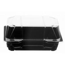 Rectangular container  184*136*84mm hinged lid, black/transparent RPET