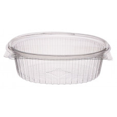 Oval container 350ml hinged lid, transparent RPET