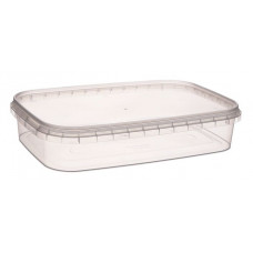 Rectangular container with safety lock 500ml and lid, transparent PP