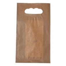 Popierinis maišelis 150x65x270mm, su išpjautomis rankenomis, rudas