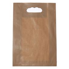 Popierinis maišelis 220x80x325mm, su išpjautomis rankenomis, rudas