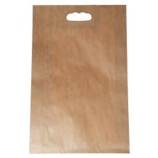 Popierinis maišelis 300x80x465mm, su išpjautomis rankenomis, rudas