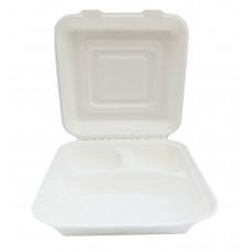 ECO cukranendrių dėžutė maisto išsinešimui 3 dalių 238 * 233,5 * 76 mm, balta