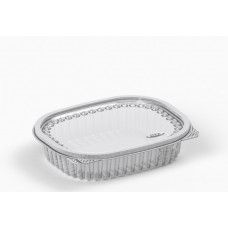 Oval container 350ml 160*133*37mm hinged lid, transparent RPET