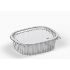 Oval container  500ml 160*133*48mm hinged lid, transparent RPET