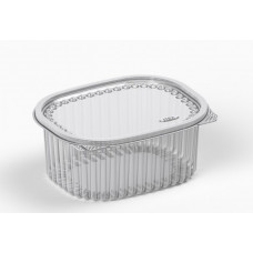Oval container  750ml 160*133*67mm hinged lid, transparent RPET