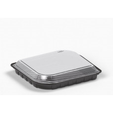 Sushi container 210*180*42mm black with transparent lid, RPET