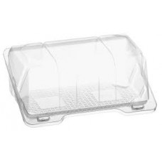 Rectangular container  180*12*78mm hinged lid, transparent RPET